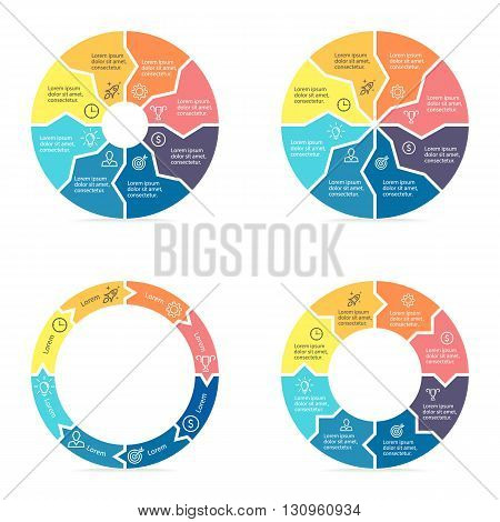Circular arrows for infographics. Chart, diagram with 8 steps, parts. Vector templates.