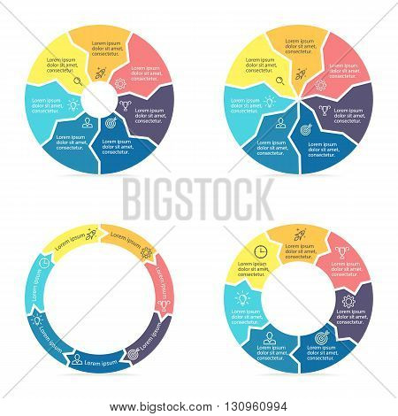 Circular arrows for infographics. Chart, diagram with 7 steps, parts. Vector templates.