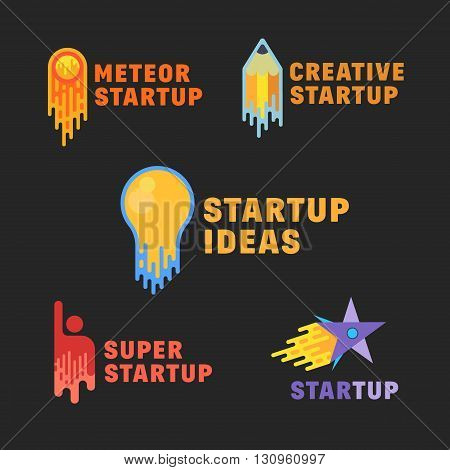 Abstract Startup Icons, Symbol, Signs or Logo Template Set. Flat Style on Dark Background. Lightbulb, Pensil, Meteor, Human and Star Rocket.