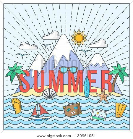 Line Style Flat Vector Color Summer Card or Illustration with Isle, Ocean, Mountains, Palmtrees, Shell, Yacht and Travel Icons. Isolated.
