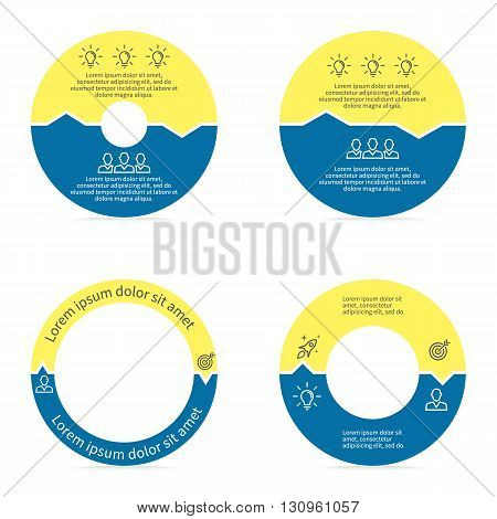 Circular arrows for infographics. Chart, diagram with 2 steps, parts. Vector templates.