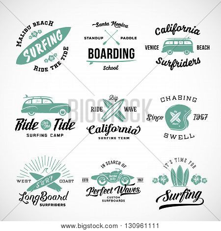 Vector Retro Style Surfing Labels, Logos or T-shirt Graphic Design Featuring Surfboards, Surf Woodie Car, Motorcycle Silhouette, Helmet and Flowers. Isolated. Good for Posters etc.