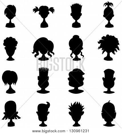 Men women child black avatar profile picture icon set - vector
