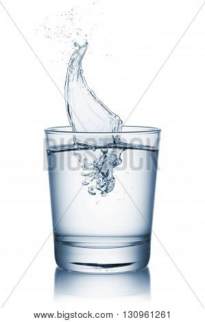 glass full of natural water with splashing