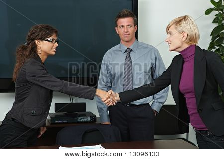 Business people shaking hands over table in offiice meeting room.