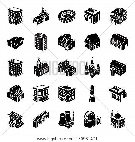 25 3D Buildings glyph vector icons collection