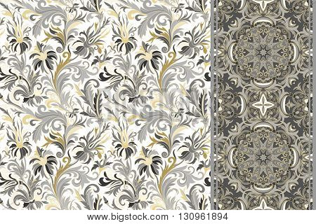 Seamless floral patterns set. Vintage hand drawing flowers backgrounds and borders. Vector ornaments. Gold and gray tone.