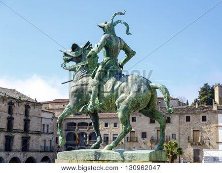 Equestrian statue of Francisco Pizarro (conqueror of Peru) in Trujillo main square province of Caceres Spain