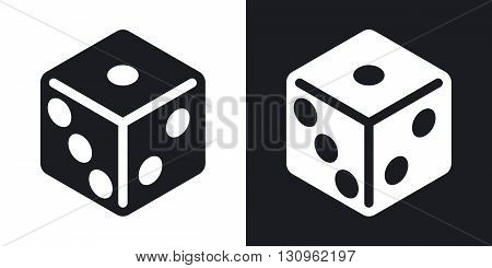 Vector dice icon. Two-tone version on black and white background