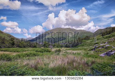 Looking towards Glenfinnan Viaduct in the Scottish Highlands