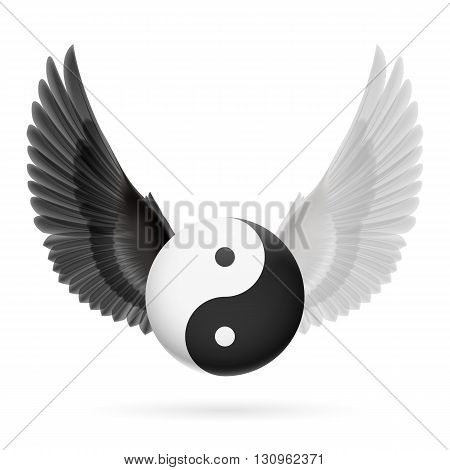 Traditional Chinese Yin-Yang symbol with black and white wings