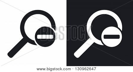 Vector magnifier icon with minus sign. Two-tone version on black and white background