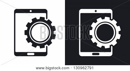 Vector tablet settings icon. Two-tone version on black and white background