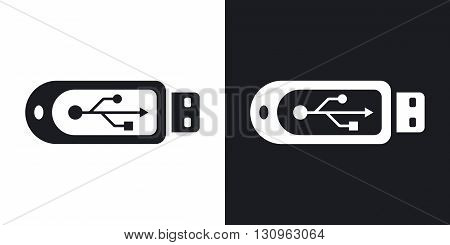 Vector usb flash drive icon. Two-tone version on black and white background
