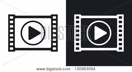 Vector video player icon. Two-tone version on black and white background