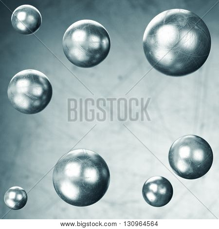 Abstract metal background with flying spheres. 3d rendering