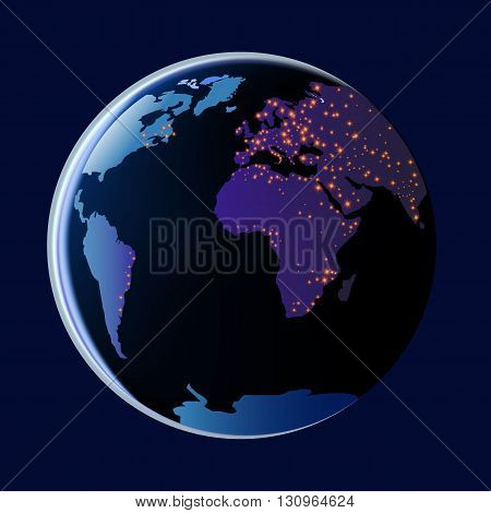 View of the earth from space with fire vector illustration