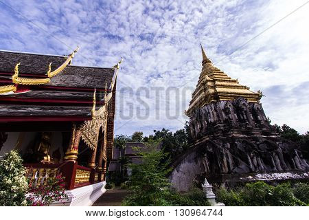 Chapel and Ancient temple with Beauty sky, Wat Chiang Man in Chiang Mai, Thailand