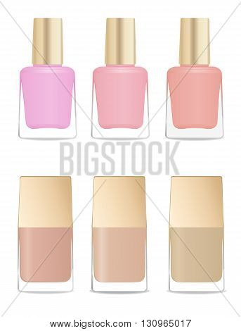 Set of glass nail polish bottles. Different colors and shapes. Vector illustration