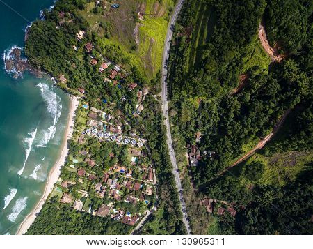Top View of a Beach in a Coastline