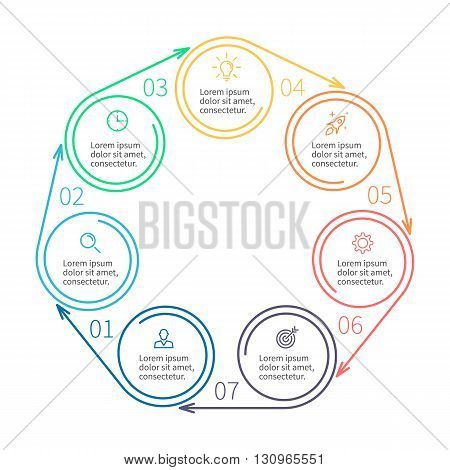 Circular infographics. Minimalistic chart, diagram with 7 steps, parts. Vector design template.