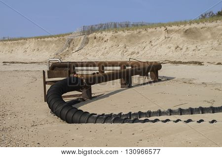 Pipeline which brings sand from the water to replace storm damage on the Delaware Coastline.