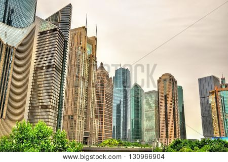 Shanghai skyscrapers at Lujiazui Financial District - China