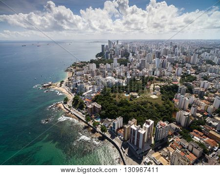 Beautiful view of Salvador coast in Bahia, Brazil