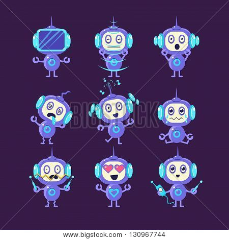Robot Different Emotions Set Of Flat Childish Cartoon Style Vector Drawings Isolated On Dark Background
