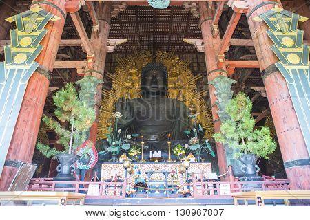 Nara Japan - October 26: The Great Buddha at Todai-ji temple