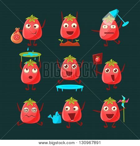 Tomato Cartoon Character Set Of Flat Childish Simple Style Vector Drawings Isolated On Dark Background