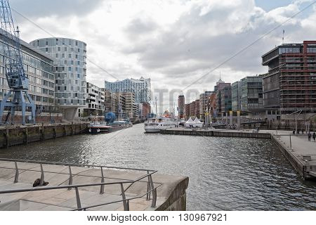 HAMBURG, GERMANY - MAY 16, 2016: Buildings at Sandtorhafen located on the Elbe river islands