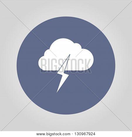 Lightning bolt weather flat line icon infographic illustration template for web or brochure. Vector illustration.