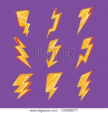 Lightning Bolt Set Of Flat Simple Bright Color Design Vector Drawings Isolated On Dark Background