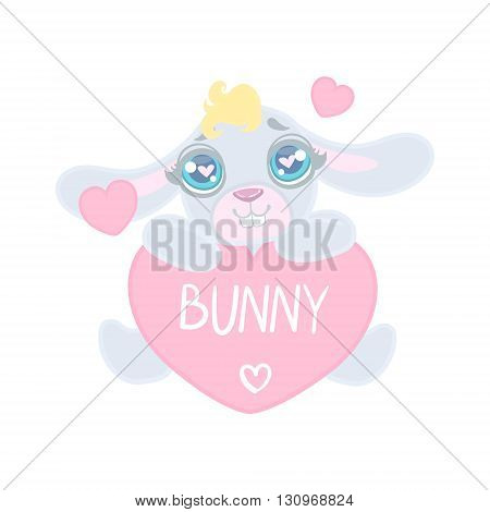 Bunny With Heart Shaped Sign Illustration In Cute Girly Cartoon Style Isolated On White Background