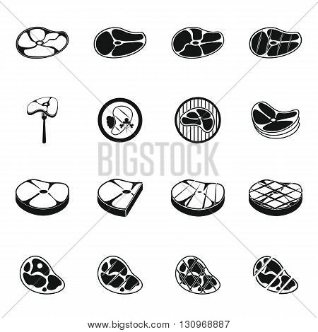 Steak icons set in simple style for any design