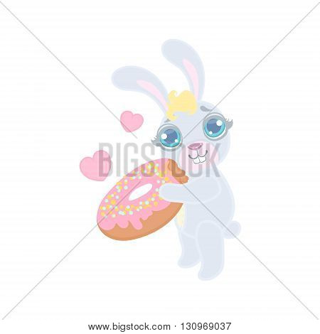 Bunny With The Giant Donut Illustration In Cute Girly Cartoon Style Isolated On White Background