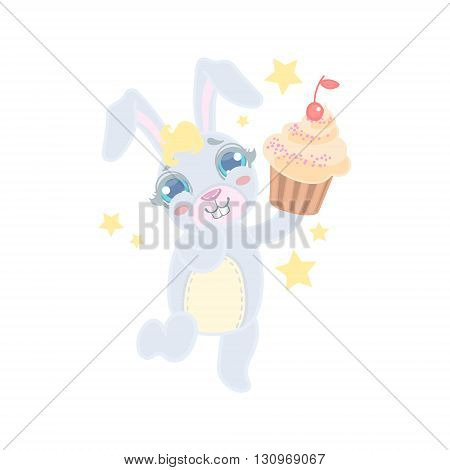 Bunny Holding A Cupcake Illustration In Cute Girly Cartoon Style Isolated On White Background