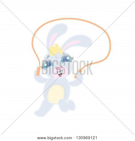 Bunny Jumping With Skip Rope Illustration In Cute Girly Cartoon Style Isolated On White Background