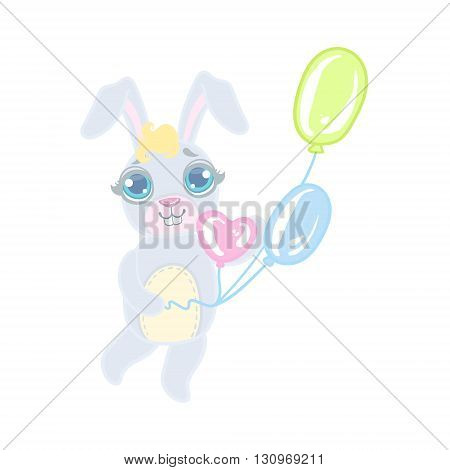Bunny With Balloons Illustration In Cute Girly Cartoon Style Isolated On White Background