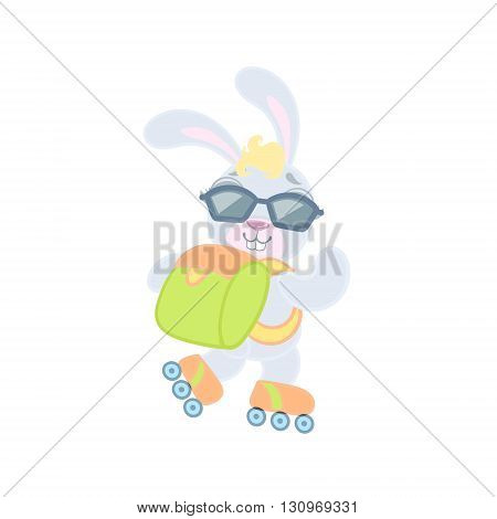Bunny On Roller Skates Illustration In Cute Girly Cartoon Style Isolated On White Background