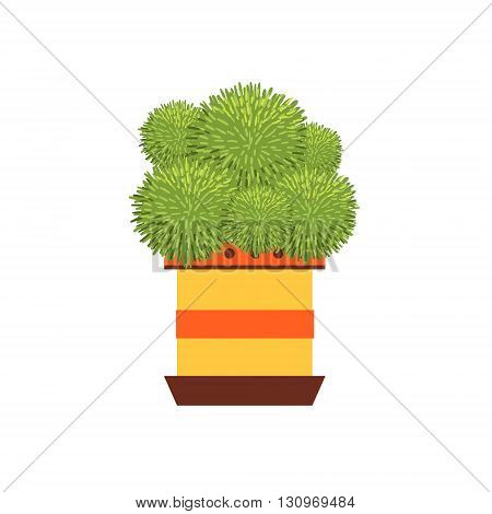 Many Globe Shape Cacti In A Pot Flat Cartoon Childish Style  Vector Icon Isolated On White Background