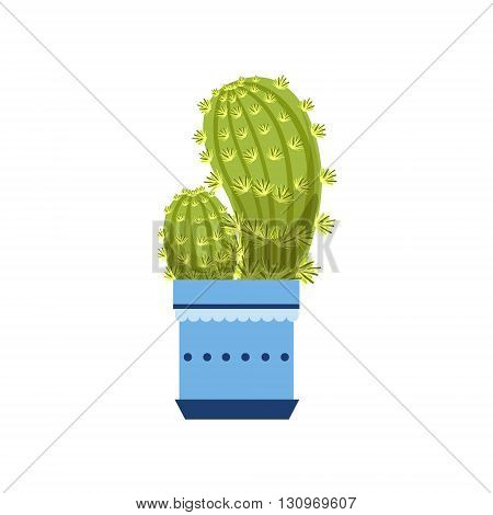 Two Cacti In Blue Pot Flat Cartoon Childish Style  Vector Icon Isolated On White Background