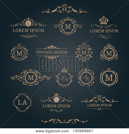 Elegant floral monograms and decorative elements. Design templates for invitations, menus, labels. Wedding monograms. Monogram identity for restaurant, hotel, heraldic, jewelry.