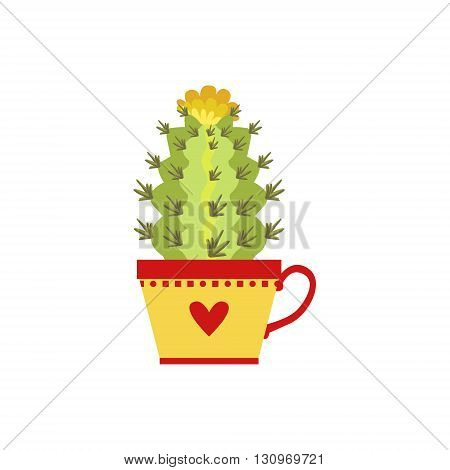 Blooming Tall Cactus In A Cup Flat Cartoon Childish Style  Vector Icon Isolated On White Background