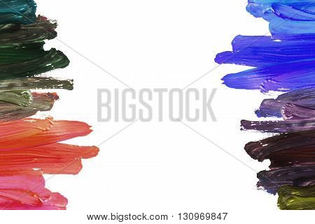 Streaks of multicolor paint on white background