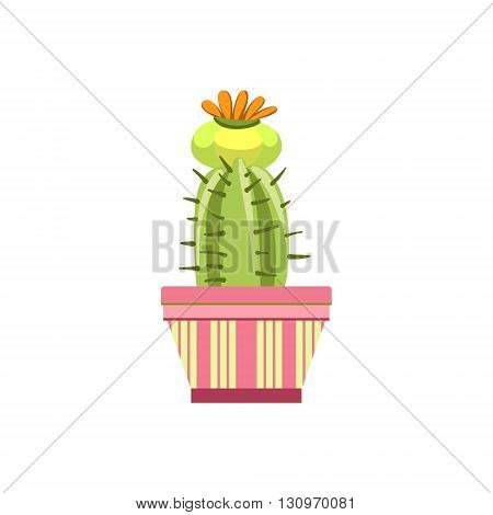 Blooming Cactus In Pink Pot Flat Cartoon Childish Style  Vector Icon Isolated On White Background
