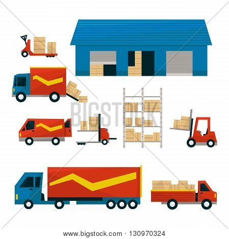Logistic Related Illustrations Set Of Illustrations  In Simplified Flat Vector Design On White Background