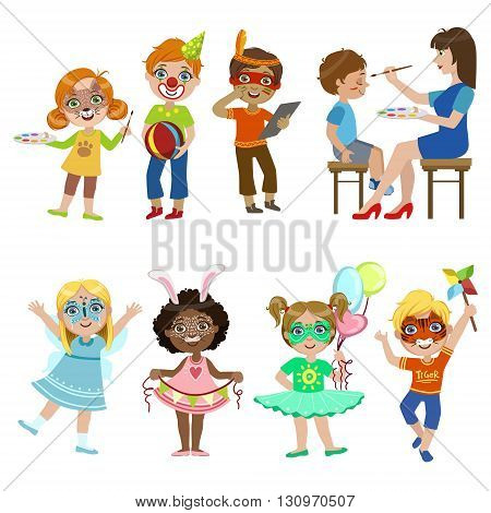 Kids With Painted Faces Set Of Bright Color Cartoon Childish Style Flat Vector Drawings Isolated On White Background