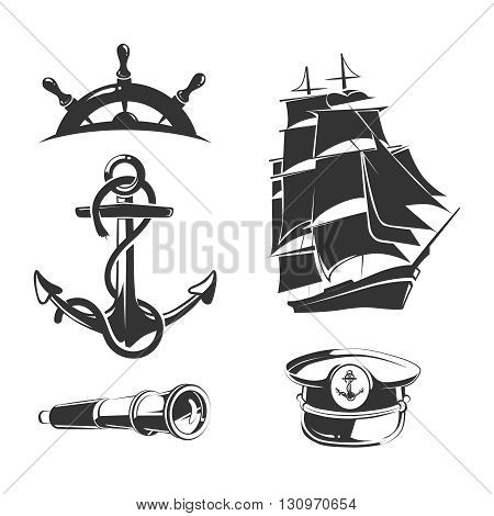 Vector nautical elements for vintage labels. Anchor label, nautical badge, ship nautical, nautical insignia boat illustration